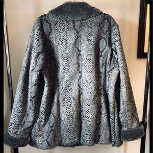 dennis basso Jackets & Coats - Dennis Basso Gray Snakeskin Coat Size 1X